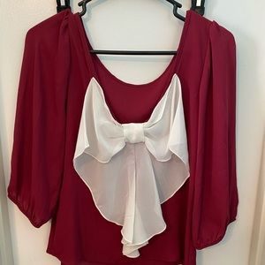 J&M clothing mid sleeve burgundy crop top